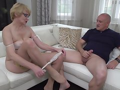 Blonde mature nerdy MILF Rina M. blows plus rides an older guy