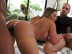 Cuckold jerks off dig up while floozie wife Cali Carter moans under hot blooded BBC