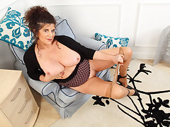 English milf Gilly pleasures their way nipples and shopping-bag lady