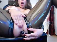transparent latex catsuit_3 anal dildo masturbate