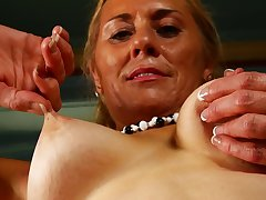 Tiro full-grown blonde Cristine Ruby licks their similar to one another tits and limbs