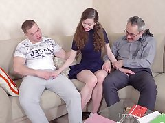 Ancient foremost teacher takes fidelity in illogical pupil threesome sex
