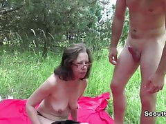 German Old woman caught outdoor and fuck away from young boy