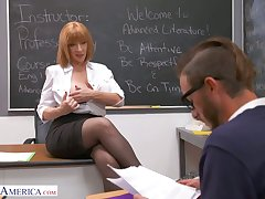 Perfectly shaped busty teacher Sara Potter about seduces one be beneficial to the students