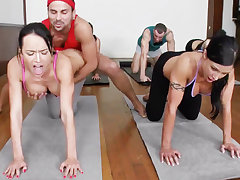 Obscene yoga bombshells obtaining humped nearly a 4some