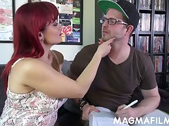 Wild Italian redhead MILF Mary Rider gives a in favour titjob and blowjob