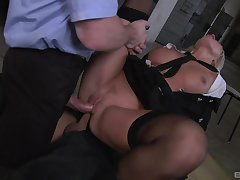 Milf gets facsimile fucked by two masked men wide huge dicks