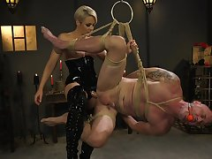 Dominant woman ass fucks get up to slave helter-skelter brutal BDSM