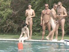 Aphrodisiac outdoors groupsex shoot with fabulous pornstars