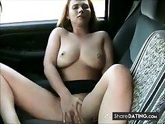 milf masturbation and orgasms near the car.