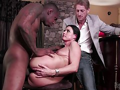 Titillating wife tries cuckold sex thither a black man