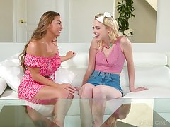 Abigail Mac persuades her friend Chloe Reddish for a nude kneading