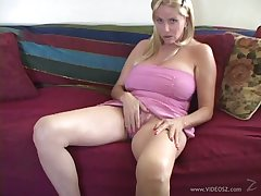 Blonde cowgirl makes a big bushwa cum on her tits fixed