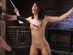 Clamped brunette chained and roughly fucked in all holes