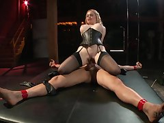 Shove around MILF rides her male slave with an increment of swallows his jizz