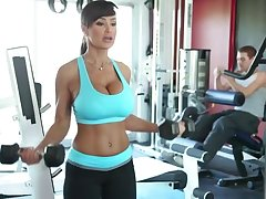Lisa Ann Exercises - busty MILF pornstar has workout with blarney