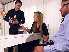 Nasty wed Britney Amber bangs her lover in front of tied up husband
