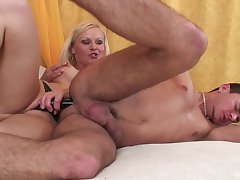 Blonde mistress ass fucks her man then licks his sperm off