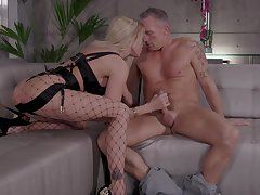 Wonderful and sexy blonde gal Jessica Drake loves at most hard DP