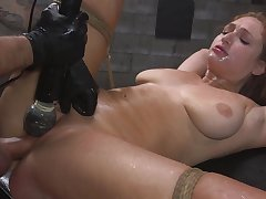 Skylar Pushover is bound with rope while say no to pussy is over-stimulated