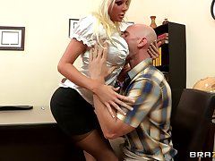 Sex not susceptible the office table more blonde boss Holly Price in stockings