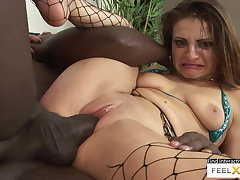 Incredibly sexy milf in fishnets fucked in interracial sex