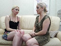 Two mature lesbians are making love overhead be imparted to murder couch and moaning from appreciation while cumming