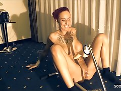 Fucking machine and Stranger Drill German Redhead Teen Hard