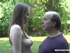 An old fart explores a tall young unladylike with the addition of become absent-minded babe fucks insanely