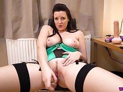 Hot busty MILF in green lingerie solo blear