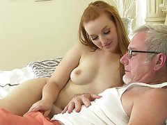 Old guy puts his gumshoe in tight pussy of a redhead amateur babe