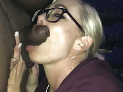 White wife gives Interracial blowjob to small black bushwa