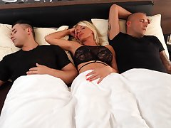 Hot MILF Tiffany Rousso wakes up to awesome threeway screwing
