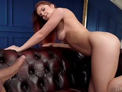 Sweet redhead loves her man's swagger hard on and she's got yummy butt cheeks