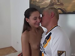 Close up video of girlfriend giving a sloppy BJ and riding her alms-man