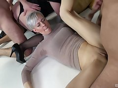 Wild sex orgy with lot of cock energized of age unskilful sluts