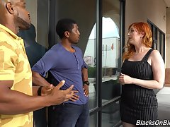 Curvaceous lacklustre milf Lauren Phillips is fucked by two hot blooded black guys