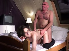 Hot Arwen Gold gives beside will not hear of pussy to a frisky old geezer