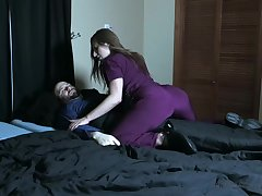 Wicked nurse pees aloft her patient coupled with smothers him with her pussy