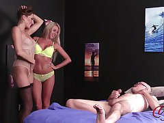 Anna Reid and Marie Carter strip down for a lucky dude to jerk off