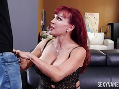 Beefy breasted mature Latina redhead Sexy Vanessa gives awesome blowjob
