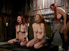 Moistness femdom threesome leads both slave girls round insane pleasures