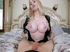 Erotic POV bedroom pastime with a busty cougar jocular mater