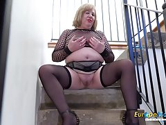 Mature lady Auntie Trisha playing with her chubby congregation all alone and fingering her scruffy pussy