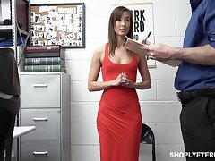 Security guy punishes slender tall comprehensive Christy Love