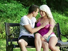 Blonde with insane curves, outdoor fun in the park more than a young dong