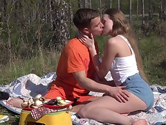 Romantic outdoor coitus atop a camping trip for beautiful Andrea Sixth