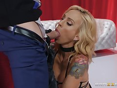 Inked bombshell Sarah Jessie has never looked so hot instantly getting fucked