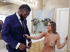Black tramp fucks busty wife and covers the brush face in sperm