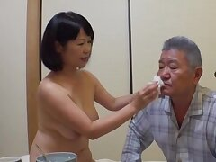 Japan mature stands nude and pleases their way mendicant the right way
